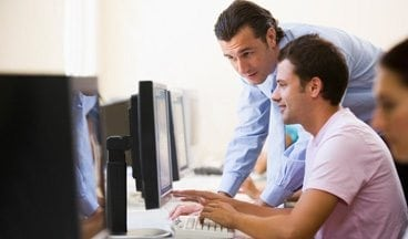 resources men looking at computer - Multi-edit Training Video